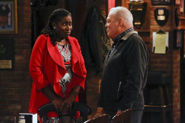 "CROWDED -- ""Amongst the Waves"" Episode 104 -- Pictured: (l-r) Carlease Burke as Alice, Stacy Keach as Bob -- (Photo by: Vivian Zink/NBC)"