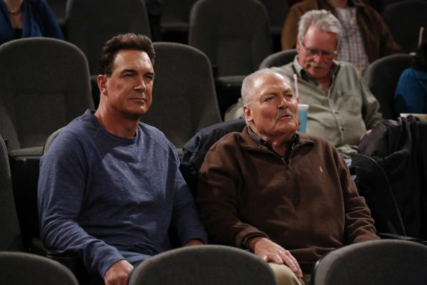 "CROWDED -- ""Nothing As It Seems"" Episode 107 -- Pictured: (l-r) Patrick Warburton as Mike, Stacy Keach as Bob -- (Photo by: Vivian Zink/NBC)"