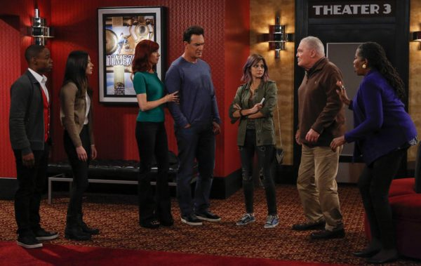 "CROWDED -- ""Nothing As It Seems"" Episode 107 -- Pictured: (l-r) Clifford McGhee as Ethan, Miranda Cosgrove as Shea, Carrie Preston as Martina, Patrick Warburton as Mike, Mia Serafino as Stella, Stacy Keach as Bob, Carlease Burke as Alice -- (Photo by: Vivian Zink/NBC)"