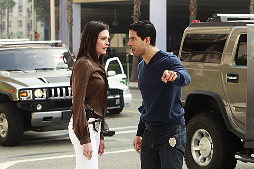 ÒFriendly FireÓ-- Samantha (Taylor Cole, left) and Delko (Adam Rodriguez) argue over an investigation when an eccentric genius is assassinated with the most unique weapon the CSIs have ever seen, on CSI: MIAMI, Sunday, Jan. 8 (10:00-11:00 PM, ET/PT) on the CBS Television Network. Photo: Monty Brinton/CBS ©2011 CBS Broadcasting Inc. All Rights Reserved.
