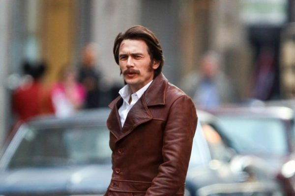New York, NY - He had only just been born when the porn and prostitution scene was raging in New York in the 1970s. But James Franco easily slipped into the look of the era when he filmed a scene for HBO's new mini-series Deuce in the Chelsea neighbourhood of Manhattan in New York on Friday. For the 37-year-old, his bushy moustache and long shag haircut set the tone. He added to the style with a brown leather jacket with wide lapels, a shiny brown printed shirt, dark grey flared slacks and brown shoes. AKM-GSI October 16, 2015 To License These Photos, Please Contact : Steve Ginsburg (310) 505-8447 (323) 423-9397 steve@akmgsi.com sales@akmgsi.com or Maria Buda (917) 242-1505 mbuda@akmgsi.com ginsburgspalyinc@gmail.com