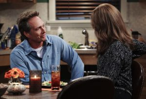 """""""Caperberries and a Glass Eye"""" -- Adam (William Fichtner) enjoys a homemade dinner with Bonnie (Allison Janney), on MOM, Thursday, April 14 (9:01-9:30 PM, ET/PT) on the CBS Television Network.  Photo: Sonja Flemming/CBS ©2016 CBS Broadcasting, Inc. All Rights Reserved"""