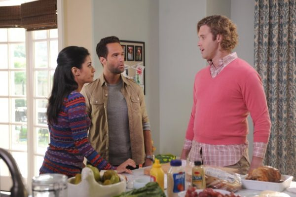 """THE GOODWIN GAMES: Jimmy (T.J. Miller, R) tries to make amends with his daughter Piper's mom (guest star Janina Gavankar, L) and her husband Chad (guest star Chris Diamantopoulos, C) in the """"Birds of Granby"""" episode of THE GOODWIN GAMES airing Monday, June 17 (8:30-9:00 PM ET/PT) on FOX. ©2013 Fox Broadcasting Co. Cr: Ray Mickshaw/FOX"""