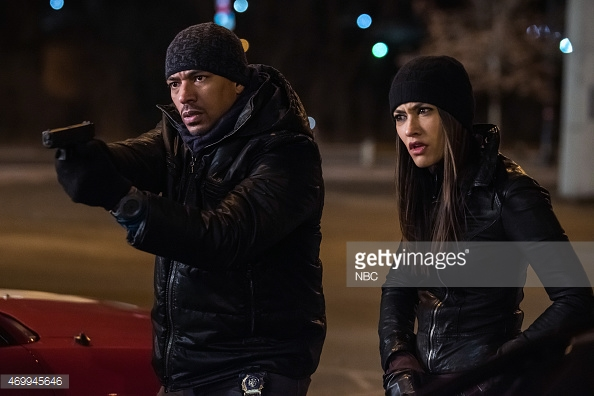 """THE MYSTERIES OF LAURA -- """"The Mystery of the Crooked Clubber"""" Episode 120 -- Pictured: (l-r) Laz Alonso as Billy Soto, Janina Gavankar as Meredith Rose -- (Photo by: Jeff Neumann/NBC/NBCU Photo Bank)"""