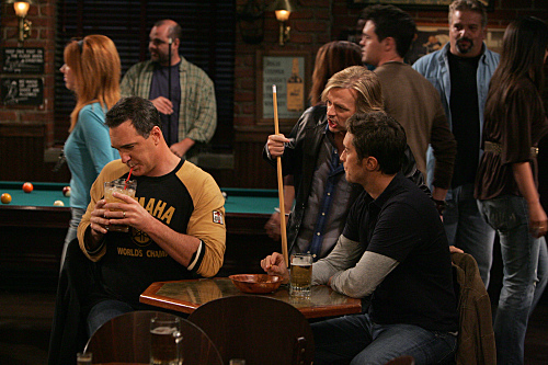 """Old School Jeff"" --Instead of going to a wedding, Jeff (Patrick Warburton, left) cuts loose and has a night out with Adam (Oliver Hudson, right) and Russell (David Spade, center), on RULES OF ENGAGEMENT, October 29 (9:30-10:00 PM, ET/PT) on the CBS Television Network. Photo: Monty Brinton/CBS ©2007 CBS Broadcasting Inc. All Rights Reserved."