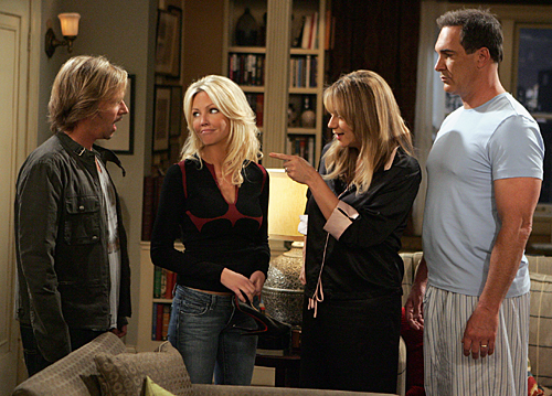 """Audrey's Sister"" -- Audrey's (Megyn Price, right of center) sister Barbara (Heather Locklear, left of center) comes to visit her and Jeff (Patrick Warburton, far right) and surprises everyone when she accepts a date with Russell (David Spade, far left), on RULES OF ENGAGEMENT, October 1st (9:30-10:00 PM, ET/PT) on the CBS Television Network.Photo: Monty Brinton/CBS. ©2007 CBS Broadcasting Inc. All Rights Reserved."