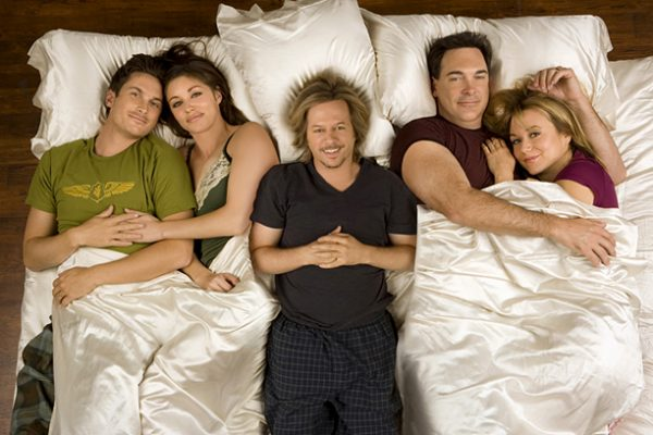 "The new CBS comedy series RULES OF ENGAGEMENT looks at the often-confusing phases of relationships through the eyes of a newly engaged couple, Adam (Oliver Hudson, ""The Mountain"") and Jennifer (Bianca Kajlich, ""Dawson's Creek""), their single friend on the prowl (David Spade, ""Just Shoot Me"") and a jaded married pair, Jeff (Patrick Warburton, ""Seinfeld"") and Audrey (Megyn Pryce, ""Grounded for Life""). Photo: Cliff Lipson/CBS ©2006 CBS Broadcasting Inc. All Rights Reserved."