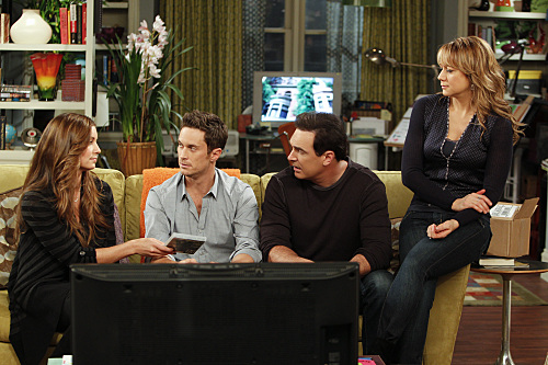 """Singing and Dancing"" -- When Timmy joins an a cappella group, he wants to keep it a secret from Russell. Meanwhile, Jeff and Audrey discover they have a new annoying neighbor, on RULES OF ENGAGEMENT, Monday, Feb, 7 (8:30-9:00 PM, ET/PT) on the CBS Television Network. Pictured (L-R) Bianca Kajlich as Jennifer, Oliver Hudson as Adam, Patrick Warburton as Jeff and Megyn Price as Audrey Photo: Monty Brinton/CBS. ©2010 CBS BROADCASTING INC. All Rights Reserved."