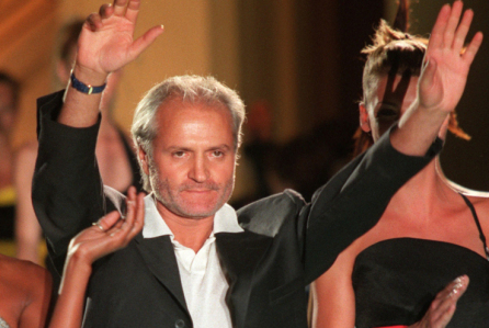 FILE -- July 1996 file photo of Italian fashion designer Gianni Versace after a show in Paris. Versace was shot to death in Miami Beach, Fla, Tuesday July 15, 1997.(AP PHOTO/Lionel Cironneau)