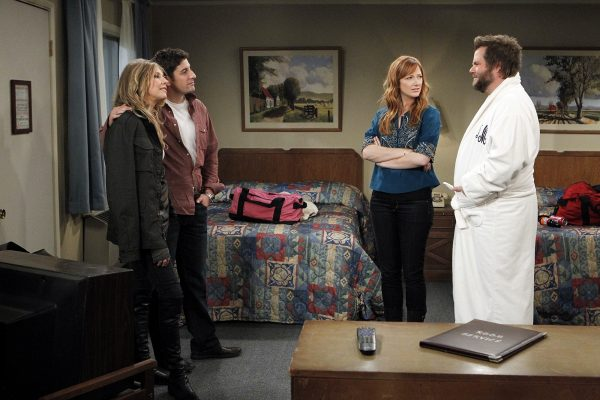 """""""Baby, You Can Drive My Car"""" -- MAD LOVE is a comedy about a quartet of New Yorkers - two who are falling in love and another two who despise each other (at least for now). MAD LOVE will premiere Monday, Feb. 14 (8:30 PM ET/PT) on the CBS Television Network. Left to right: Sarah Chalke as Kate Swanson, Jason Biggs as Ben Parr, Judy Greer as Connie Grabowski and Tyler Labine as Larry Munsch. Photo: Sonja Flemming/CBS © CBS Broadcasting Inc. All Rights Reserved."""
