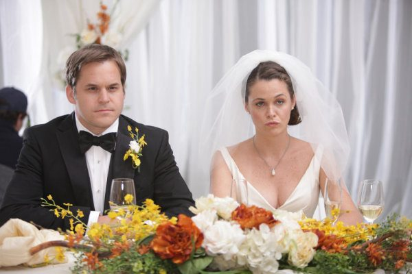 "PERFECT COUPLES -- ""Perfect Proposal"" Episode 102 -- Pictured: (l-r) Kyle Bornheimer as Dave, Christine Woods as Julia -- Photo by: Adam Taylor/NBC"